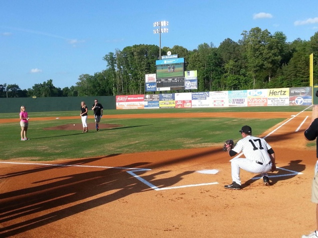 Throwing the first pitch at the Jackson Generals game in Jackson, Tennessee