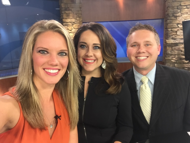 Sara anchors with Casey Wheeless & Kyle Grainger