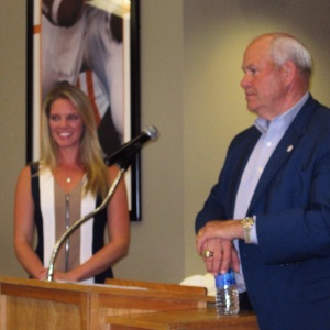 Sara emceed the Partners in Sports Spring Reception. Guest speaker Hall of Fame Coach Phillip Fulmer