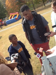 Elijah, 4th grader, at Hero Day